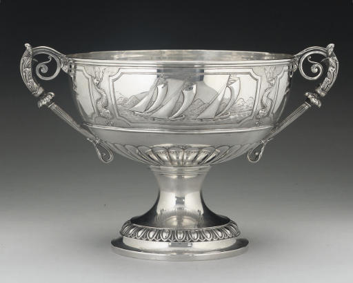A VICTORIAN SILVER TWO-HANDLED