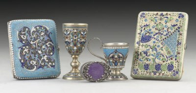 A GROUP OF FIVE RUSSIAN SILVER