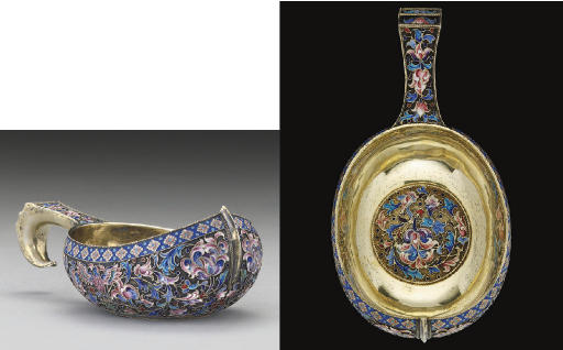 A LATE 19TH/EARLY 20TH CENTURY RUSSIAN SILVER-GILT & SHADED CLOISONNE ENAMEL KOVSH,