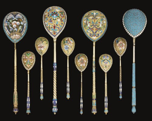 A GROUP OF TEN RUSSIAN SILVER-