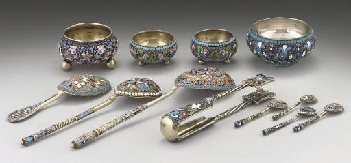 A GROUP OF RUSSIAN SILVER-GILT