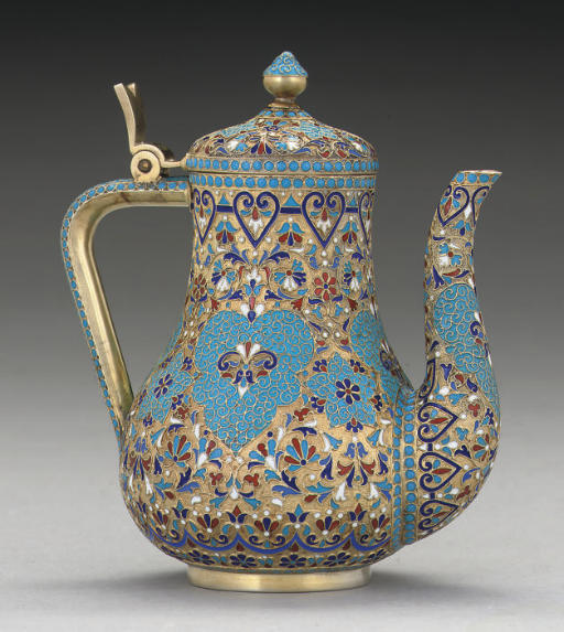 A SMALL LATE 19TH CENTURY RUSSIAN SILVER-GILT & CLOISONNE ENAMEL COFFEE POT,
