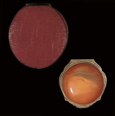 A gold-mounted agate box