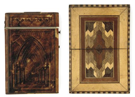 A pressed tortoiseshell card case