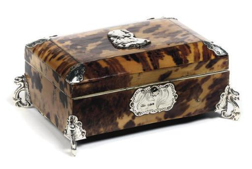 A George III silver-mounted tortoiseshell veneered trinket box