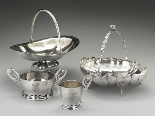 A Russian silver swing-handled cake basket