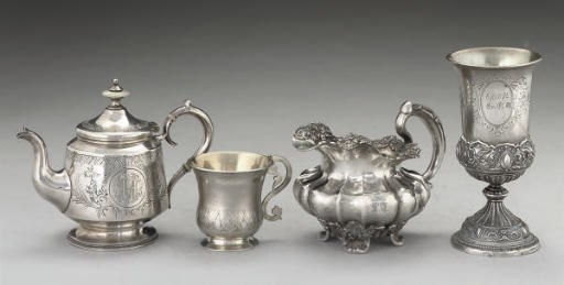 A GROUP OF RUSSIAN SILVER ITEM