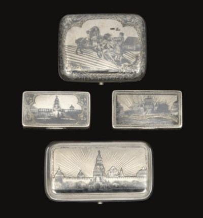 A GROUP OF 3 RUSSIAN SILVER &