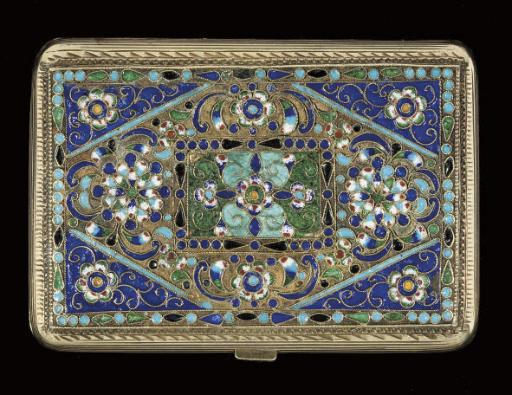 A Russian silver-gilt and cloisonne enamel cigarette case