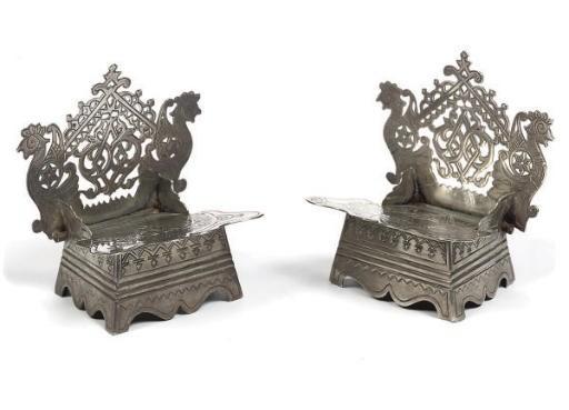 A pair of Russian silver salt