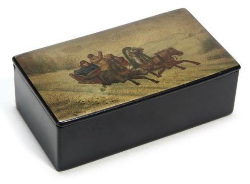 A Russian papier mache box