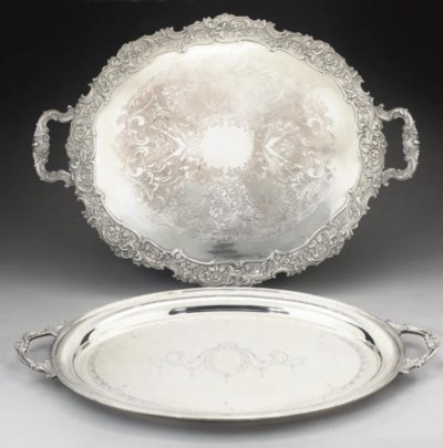 AN OVAL TWO-HANDLED SILVER TRA
