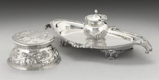 A LATE VICTORIAN SILVER INKSTAND