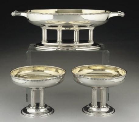 A GERMAN SILVER 3-PIECE TABLE