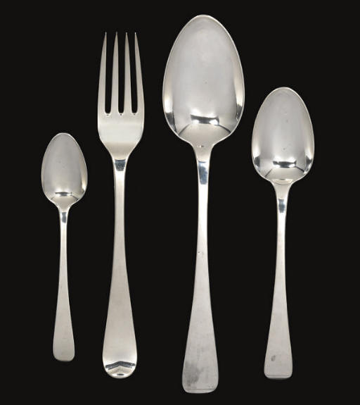 GEORGE III SILVER FLATWARE SERVICE FOR TWELVE PERSONS