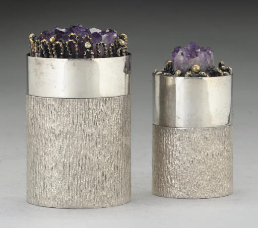 TWO MODERN GILT-LINED SILVER B