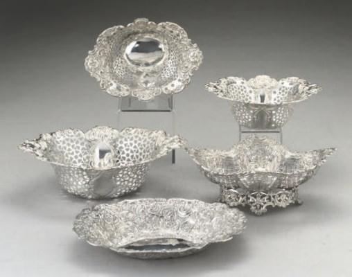 A  set of three Edwardian silv