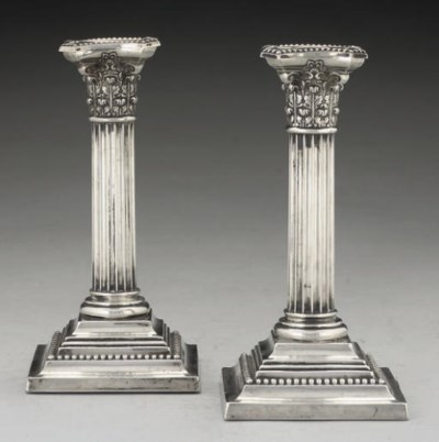 A PAIR OF AMERICAN SILVER CAND