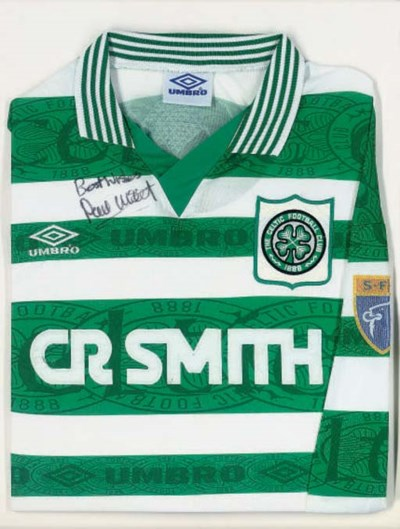 A GREEN AND WHITE CELTIC SHIRT