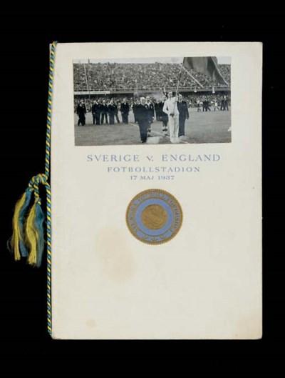 A SWEDEN V. ENGLAND, 1937, SIG