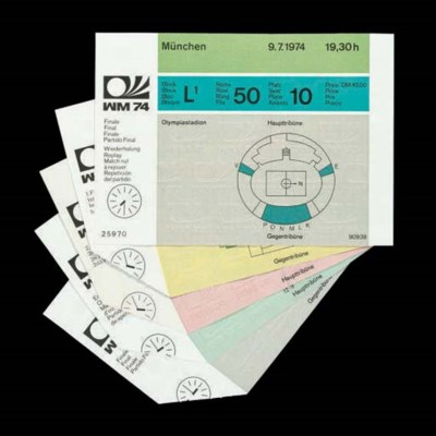 FIVE 1974 WORLD CUP TICKETS