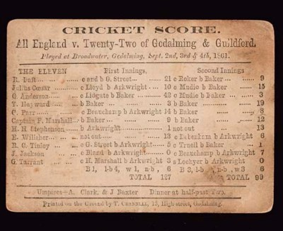 ALL ENGLAND V. TWENTY-TWO OF G
