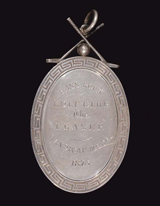 A WHITE-METAL GOLF MEDAL