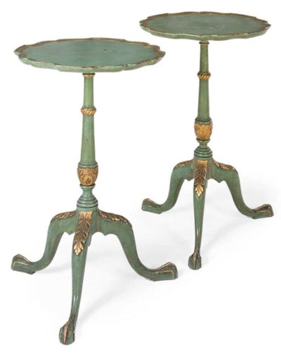 A PAIR OF GREEN AND GILT DECOR