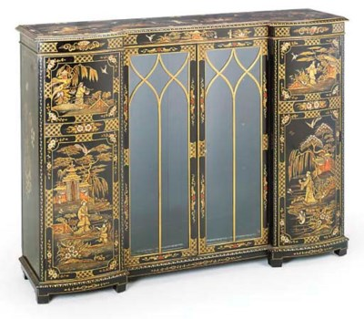 A BLACK LACQUER AND CHINOISERI