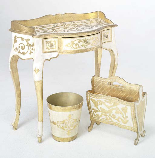 A CREAM PAINTED AND GILT DECOR