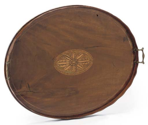 AN OVAL MAHOGANY AND MARQUETRY