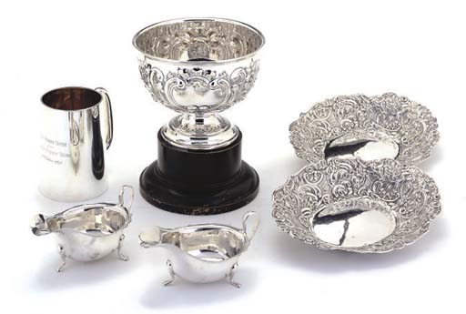 A SMALL SILVER ROSE BOWL