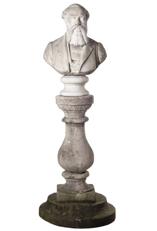 A VICTORIAN CARVED WHITE MARBL