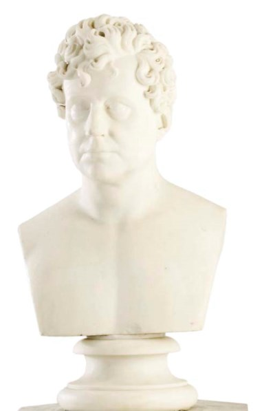 AN ENGLISH SCULPTED WHITE MARB