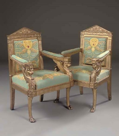 A PAIR OF ITALIAN EMPIRE CARVE