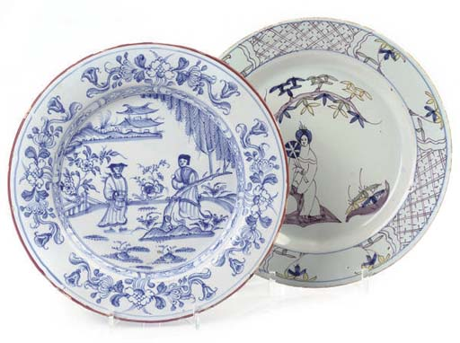 TWO ENGLISH DELFT CHINOISERIE PLATES