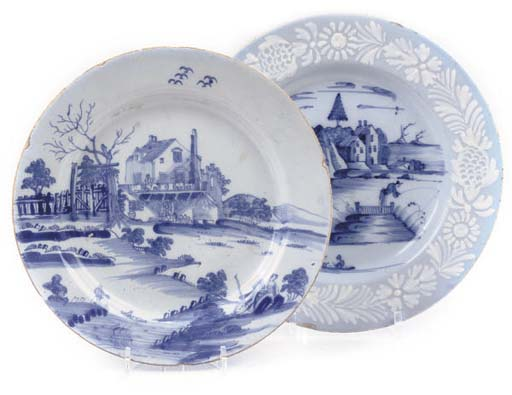 TWO ENGLISH DELFT BLUE AND WHITE PLATES