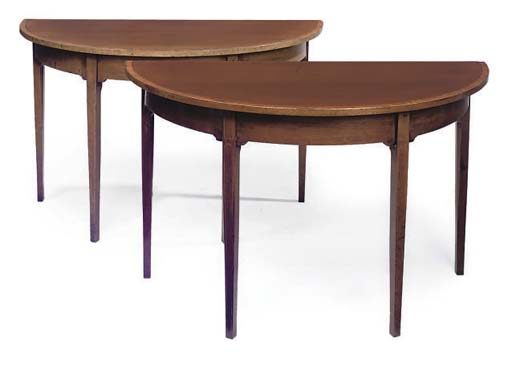 A PAIR OF GEORGE III MAHOGANY AND SATINWOOD CROSSBANDED DEMI-LUNE SIDE TABLES