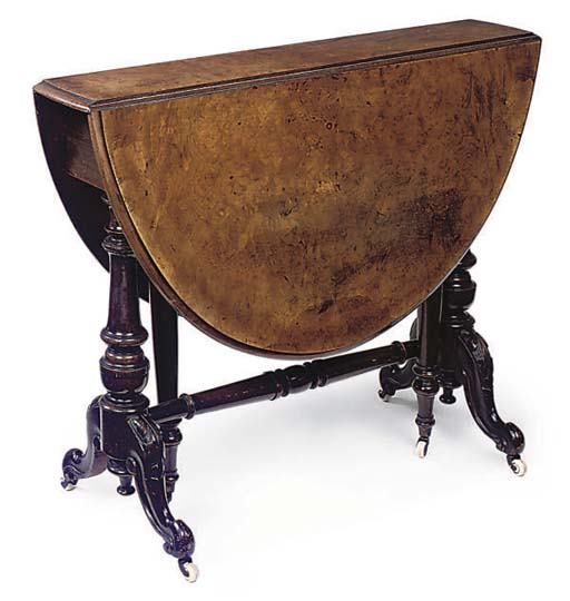 A VICTORIAN BURR WALNUT AND WALNUT SUTHERLAND TABLE