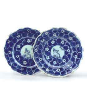 A pair of Chinese blue and white saucer dishes, Tianqi