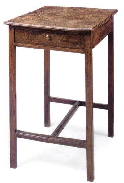 A FIGURED ASH SIDE TABLE