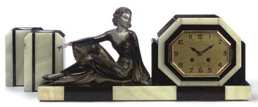 A French Art Deco onyx and bla