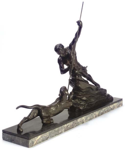 A FRENCH ART DECO SPELTER GROU