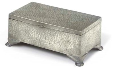 A HAMMERED PEWTER BOX