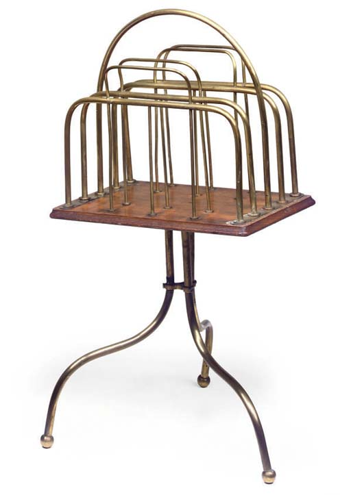 AN EDWARDIAN OAK AND BRASS CAN