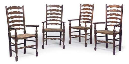 A MATCHED SET OF FOUR ASH LADD