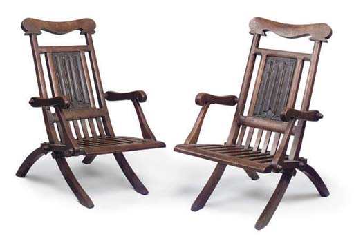 A PAIR OF OAK FOLDING STEAMER