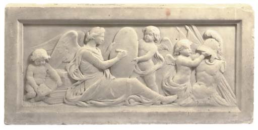 A RECTANGULAR CARVED MARBLE RE