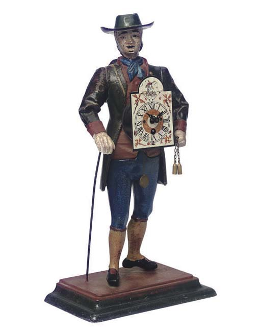 A GERMAN PAINTED SPELTER PEDDL