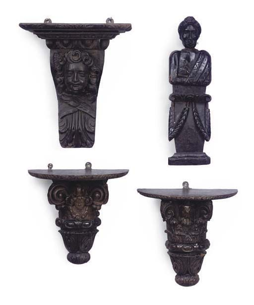 A PAIR OF OAK CARVED AND STAIN